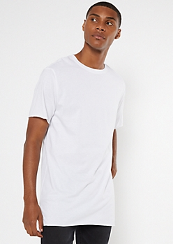 White Raw Cut Step Hem Tee