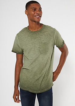 Olive Green Washed Rolled Sleeve Pocket Tee