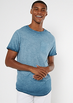 Light Blue Washed Rolled Sleeve Pocket Tee