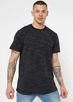 Black Space Dye Crew Neck Tee