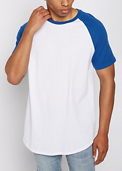 Blue Colorblock Raglan Sleeve Tee