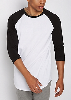 Black Three-Quarter Sleeve Raglan Tee
