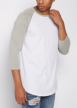 Gray Colorblock Raglan Quarter Sleeve Tee