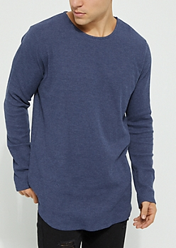 Navy Long Sleeve Thermal Knit Tee