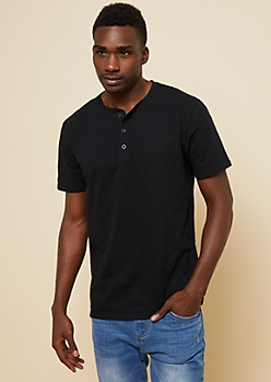 Black Essential Henley Tee