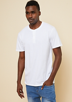 White Essential Henley Tee