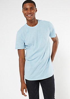 Blue Soft Curved Hem Basic Tee