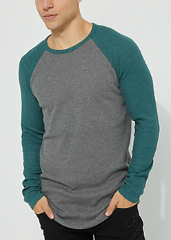 Green Thermal Knit Long Sleeve Raglan Tee