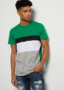 Green Striped Colorblock Tee