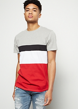 Red Striped Colorblock Tee