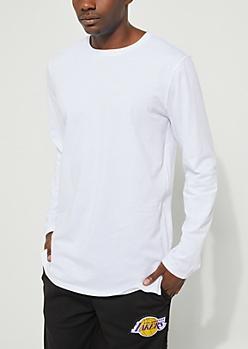 White Longer Length Long-Sleeve Tee
