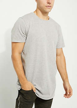 Heather Gray Longer Length Short-Sleeve Essential Tee