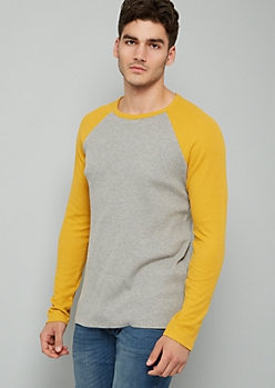 Mustard Crew Neck Raglan Thermal Tee