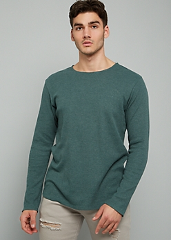 Green Crew Neck Long Sleeve Thermal Tee