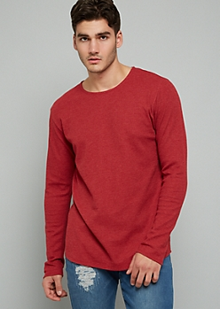 Red Thermal Crew Neck Long Sleeve Tee