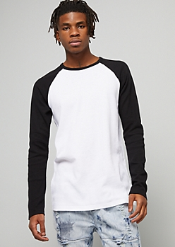 Black Thermal Raglan Crew Neck Tee