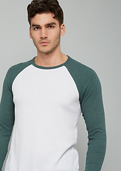 Green Crew Neck Raglan Thermal Tee