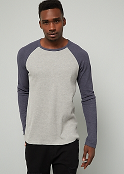 Navy Thermal Raglan Crew Neck Tee
