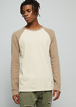 Taupe Thermal Raglan Crew Neck Tee