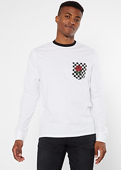 White Checkered Print Pocket Rose Graphic Long Sleeve Tee
