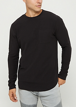 Black Slub Jersey Knit Long Sleeve Tee
