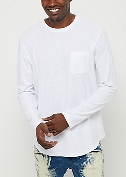 White Slub Jersey Knit Long Sleeve Tee