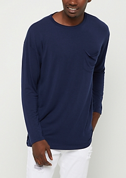 Navy Soft Jersey Knit Long Sleeve Tee