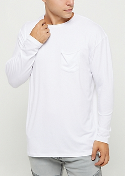 White Soft Jersey Knit Long Sleeve Tee
