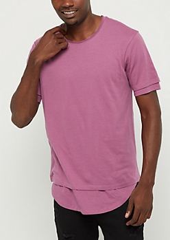 Purple Double Layered Solid Tee