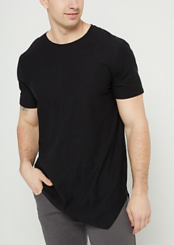 Black Slub Knit Asymmetrical Hem Tee
