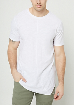 White Slub Knit Asymmetrical Hem Tee