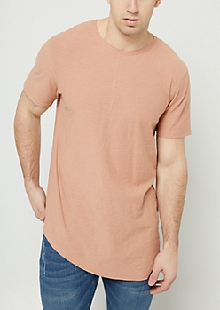 Tan Slub Knit Asymmetrical Hem Tee