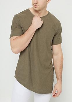 Olive Slub Knit Asymmetrical Hem Tee