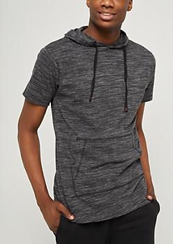 Charcoal Space Dye Short Sleeve Hoodie