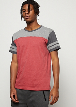 Burgundy Colorblock Varsity Striped Tee