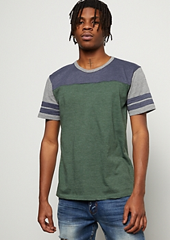 Green Colorblock Varsity Striped Tee