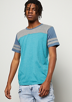 Turquoise Colorblock Varsity Striped Tee