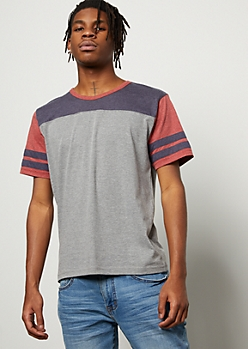 Heather Gray Colorblock Varsity Striped Tee
