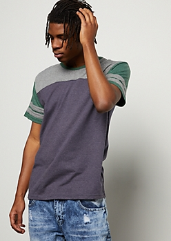 Navy Colorblock Varsity Striped Tee
