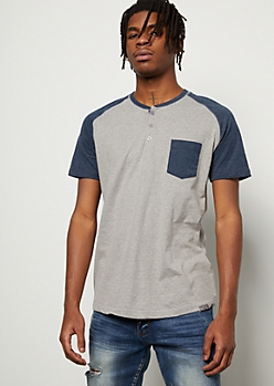 Heather Gray Raglan Pocket Henley Tee