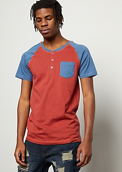 Burnt Orange Raglan Pocket Henley Tee
