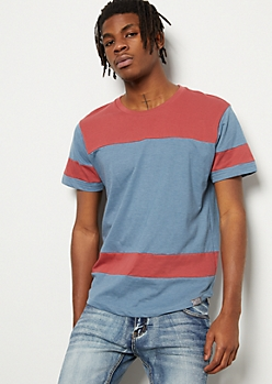 Medium Blue Colorblock Striped Tee