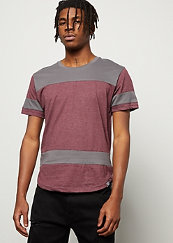 Burgundy Marled Colorblock Striped Tee