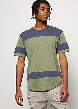 Olive Marled Colorblock Striped Tee