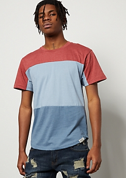 Light Blue Colorblock Crew Neck Essential Tee