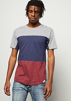 Navy Colorblock Crew Neck Essential Tee