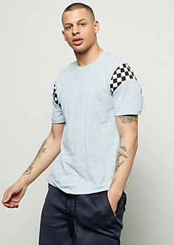 Blue Checkered Print Striped Short Sleeve Tee