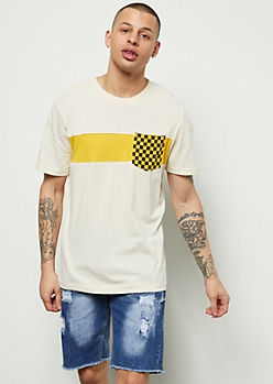 Yellow Colorblock Checkered Print Pocket Tee