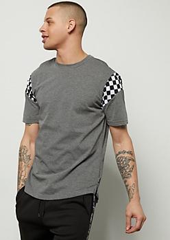 Gray Checkered Print Striped Short Sleeve Tee