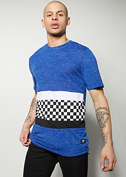 Blue Space Dye Colorblock Checkered Print Tee